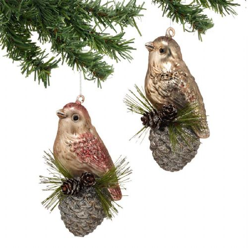 Winter's Lodge Frosted Bird Ornaments Set of 2